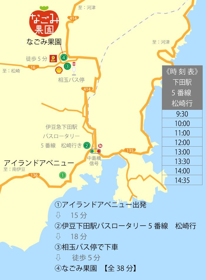 アイランドアベニュー周辺下田【いちご狩り】なごみ果園へのアクセス