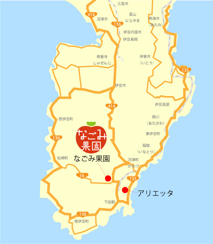 アリエッタ周辺の伊豆下田観光【いちご狩り】なごみ果園へのアクセス